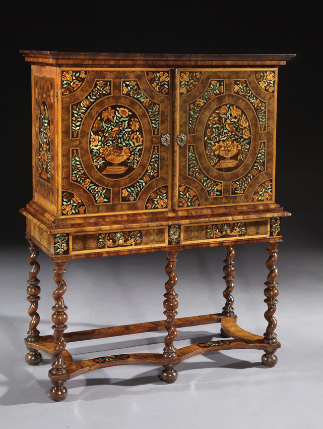 1690 William U0026 Mary Oyster Veneered Olive Wood And Walnut Marquetry Cabinet  On A Stand To An International Museum For A Six Figure Sum.