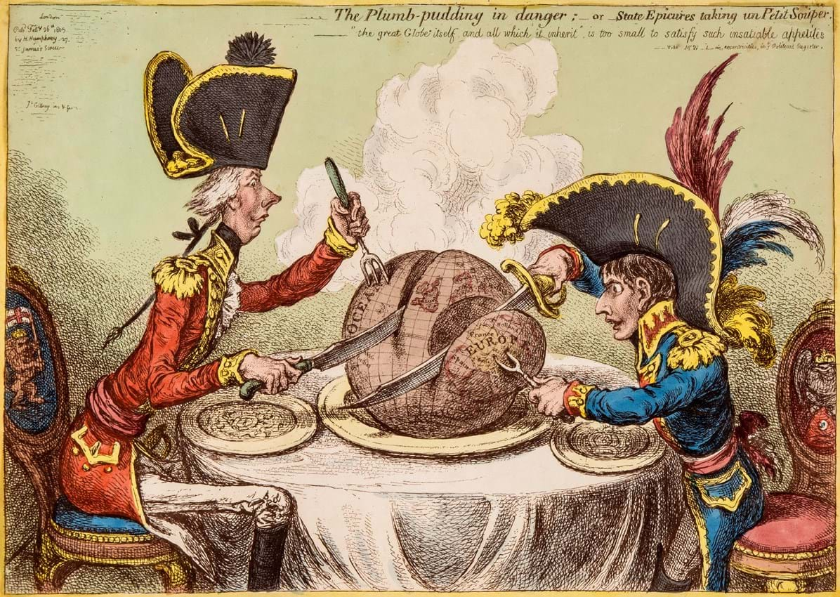 James Gillray 'The Plumb-pudding in danger'