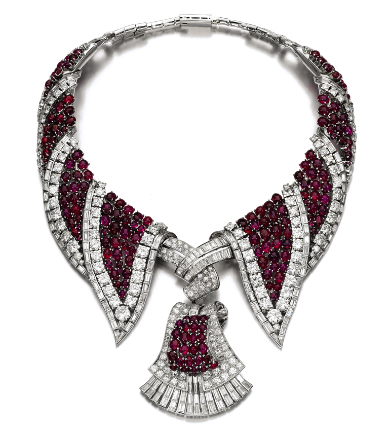 This 1950s Ruby And Diamond Pendent Necklace Carries An Estimate Of 120 000 180 Will Be Offered At Sotheby S Auction Items From Jewellery Dealer