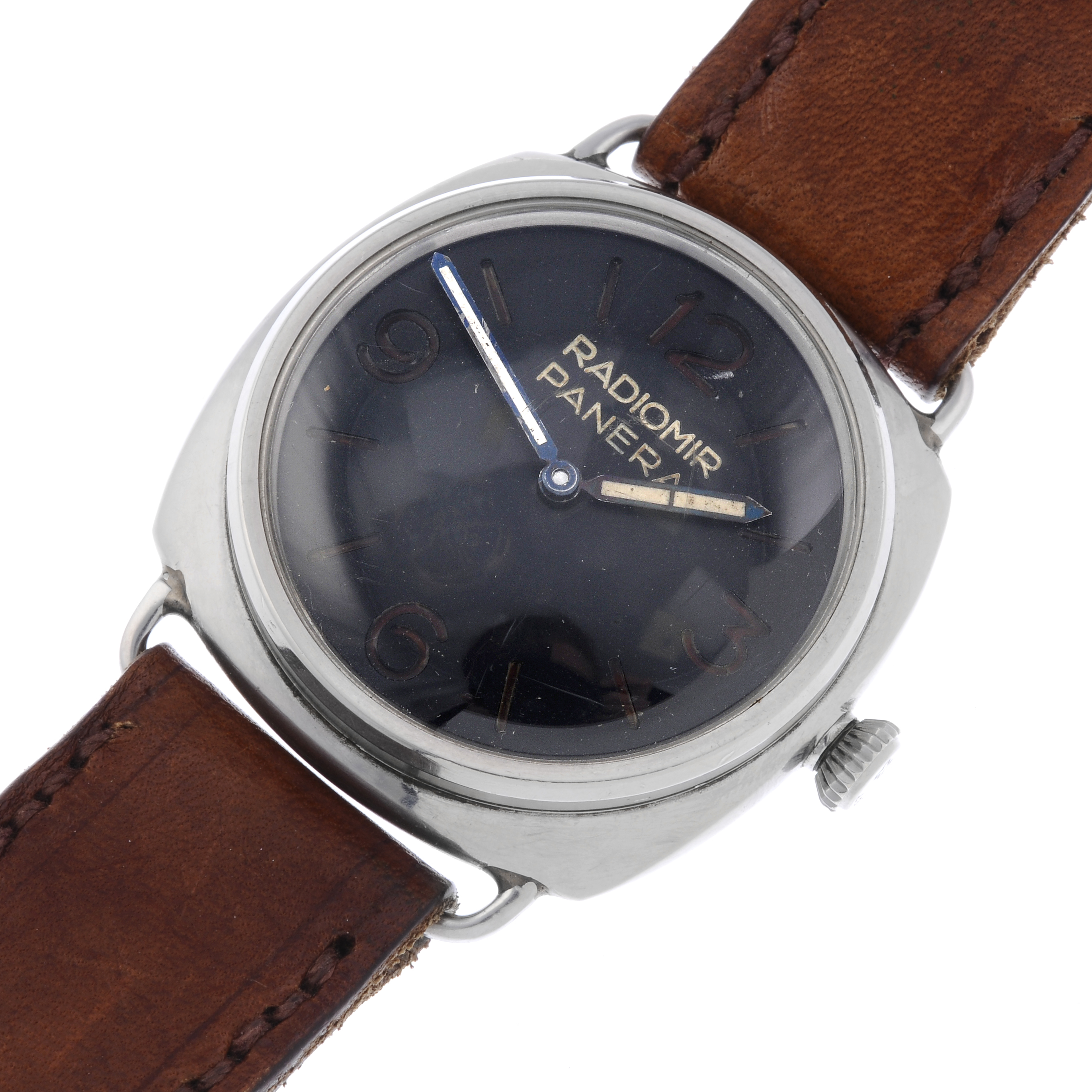 s men watch radiomir watches brown leather black dial panerai