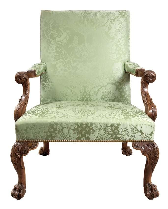 George II walnut library armchair