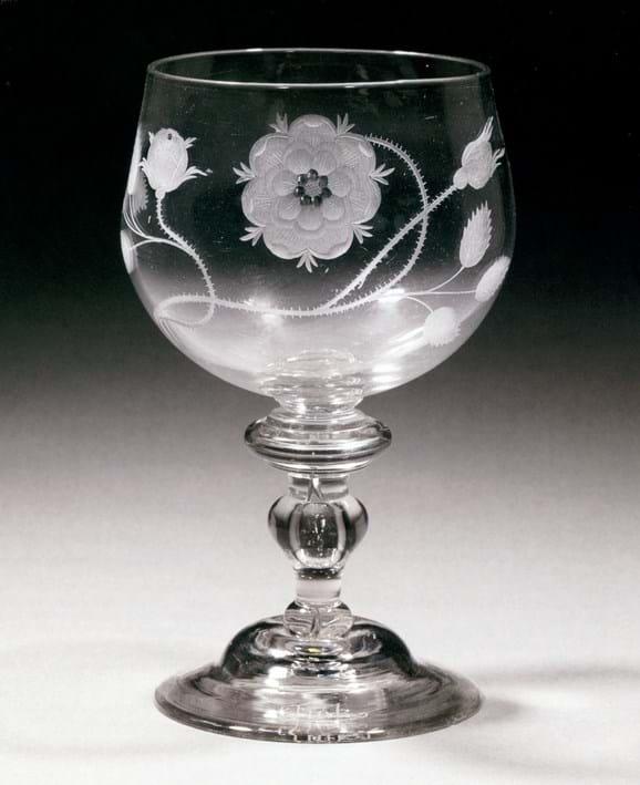 Baluster-stem goblet decorated with engraved rose