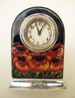 Moorcroft silver mounted clock