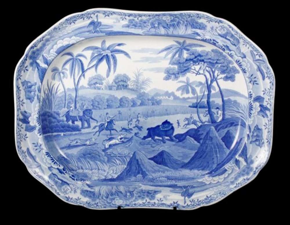 Spode pearlware shaped rectangular serving dish
