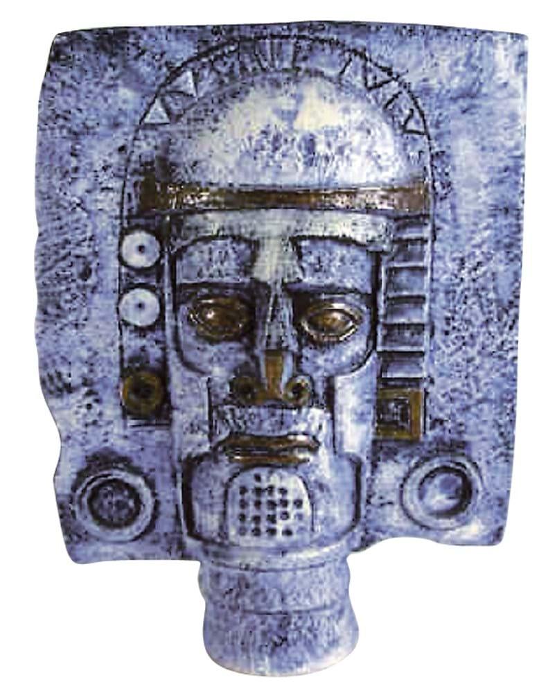 Troika Cycladic mask vase decorated by Simone Kilburn