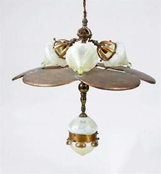 ceiling light fitting with James Powell vaseline glass shades