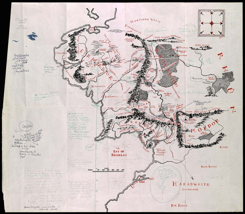 Middle-earth map annotated by Tolkien and Baynes
